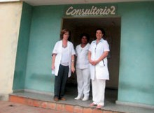Cuba's health care system is based on the neighborhood doctor and nurse. Most often, one of them lives upstairs from the office.  (Photo by Sarah van Gelder)