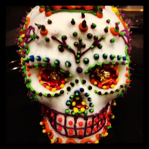 Delicate sugar skulls created by Executive Pastry Chef Santiago Luna Corral of Occasion Caterers in Washington DC. (Photo: Twitter #DayoftheDead)