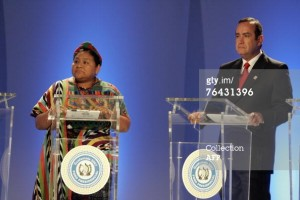During a run for president of Guatemala, Rigoberta Menchú joined her fellow candidates on stage.