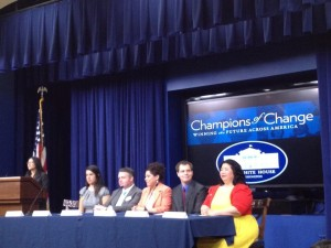 Part of the honored delegates at this morning's Cesar Chavez Champions of Change ceremony at the White House. (Photo: Taken from the Twitter feed of @jmacosta)