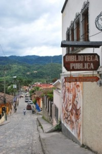 The street outside the public library in Copán, Honduras. (Photo by Carol A. Erickson)