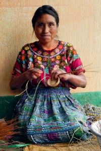 Mayan basket weaver's products are sold in the U.S. through Fair Trade initiatives.