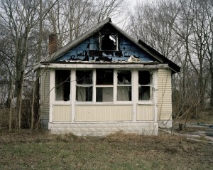 A decaying house in Detroit's Brightmoor neighborhood, where there are many vacancies that end up burnt-down or bulldozed.