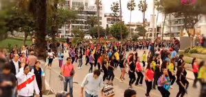 Participants dance their way to the finish line of world's first choreographed race in Lima, Peru.