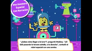 Scene from new bilingual app Wubbzy Space Adventure