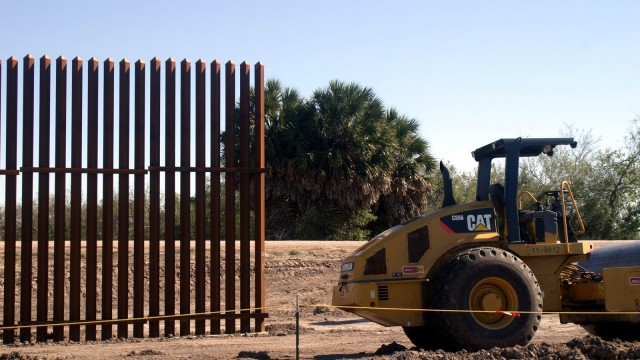 Border wall construction north of levee blocking Sabal Palms Audubon Sanctuary - 1-10-2010 - Scott Nicol