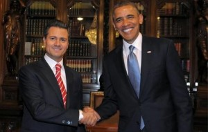 Mexico's President Enrique Peña Nieto welcomes President Obama.