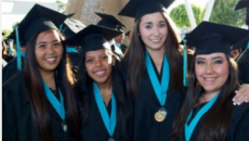 Giovanna Robledo (second from the right) and her friends on graduation day at Olympian High School, in Chula Vista.