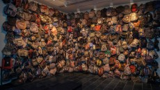 """State of Exception"" exhibit showcases some of the hundreds of discarded backpacks found in the Sonoran Desert by Jason De Leon and his team."