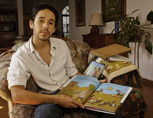 "DUNCAN TONATIUH Illustrator Duncan Tonatiuh, illustrator of ""Diego Rivera: His World and Ours,"" the 2012 winner of the Pura Belpre Illustrator Award, with some of his work in his home in Colonia La Lejona, San Miguel de Allende. The award, which honors La"