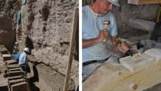 (l.) Restoration began well below the surface of the mission; (r.) A craftsman carves a new Zapata.