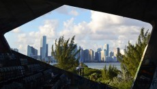 """Window,"" a view of the Miami skyline from Marine Stadium"