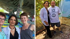Left: Awesome Day at the #marinestadium Kudos to #gloriaestefan for contributing her time and money to help restore this wonderful Miami landmark. So wonderful to meet this Miami icon with my daughter @frenchpeach -- @laureebell_ud, Laureen Right: Kicking it with #gloriaestefan at the #marinestadium this weekend along with several awesome artists. -- @luisberros, Luis Berros