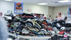Children's clothing set aside for young immigrants. Donations come from a range of sources, especially faith groups. CREDIT: JACK JENKINS