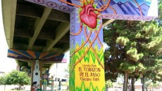 """""""El Corazón de El Paso,"""" painted in 2009 by Gabriel S. Gaytán. The heart and arteries is a symbol of freeways US 54 and I-10 meeting at Lincoln Park, then branching out to other areas of the city."""