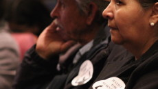 Villalpando's parents patiently wait for the Grapevine City Council meeting to begin. Photo: Obed Manuel