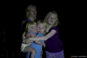 """The four sisters, from L-R, Donilcia, Iveily, Yaisseth and Jade Morales, who are part of the albino or """"Children of the Moon"""" group in the Guna Yala indigenous community, pose for a photograph on Ustupu Island in the Guna Yala region, Panama April 24, 2015. REUTERS/Carlos Jasso"""