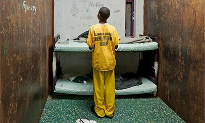 A 12 year old juvenile in his windowless cell at Harrison County Juvenile Detention Center in Biloxi, Mississippi. (Photo courtesy Richard Ross)