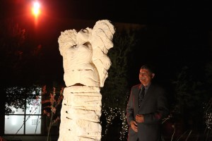 "Eliseo Medina with his creation ""The DREAMer"""