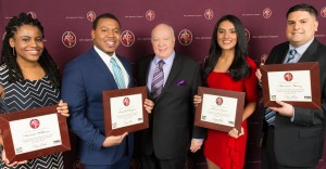 2015 Graduates of the Ailes Apprentice Program: Danaia Williams, Randall Payton, Chairman and CEO of FOX News Channel Roger Ailes, Shivan Sarna, Mauricio Muñoz