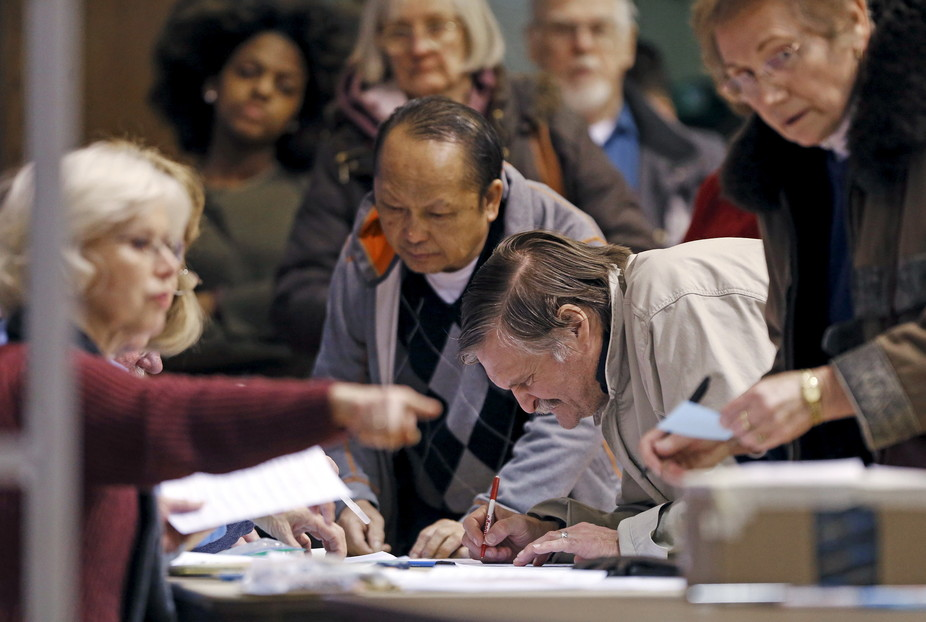 Votes are counted during Minnesota's Democratic caucus. Reuters/Eric Miller