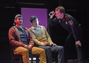 Actors Arturo Soria, Ivan Basso and Shamble Ferguson in a scene from Deferred Action. Photo: Karen Almond
