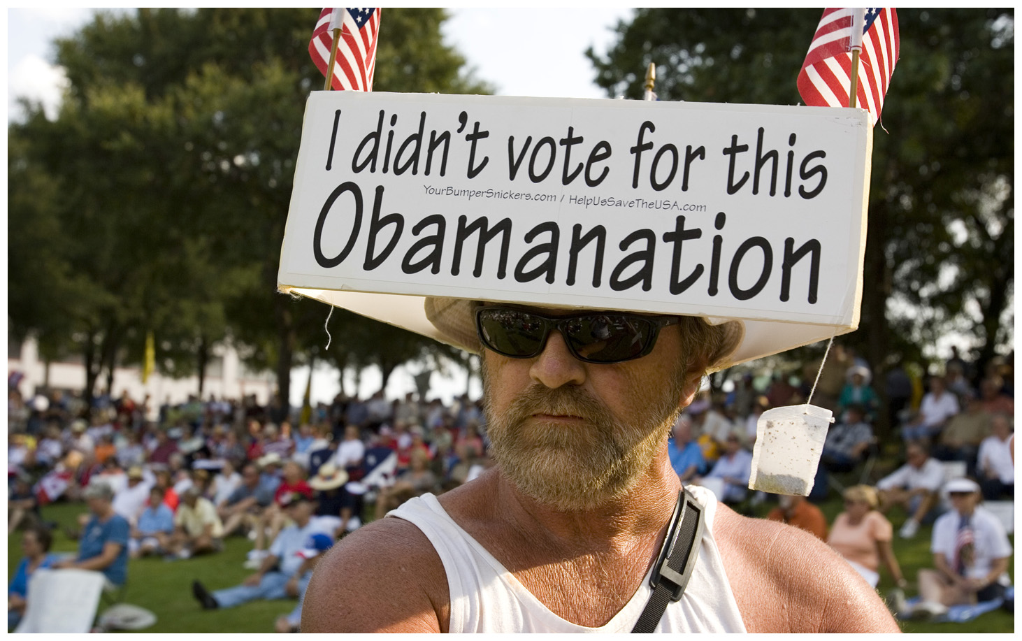 9/3/2009 - Jay Janner/AMERICAN-STATESMAN - A man who said he changed his name to Hustusa listens at the Tea Party Express rally in Waco on Thursday Sept. 3, 2009.  He said Hustusa stands for Help Us Save The USA.  Hustusa is from Vista, California, and is following the Tea Party Express across the country.