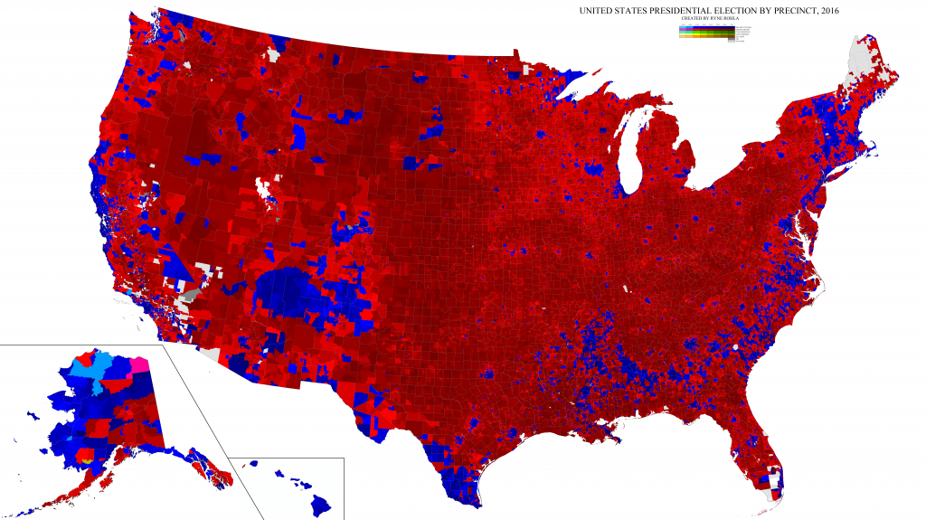 Grad Student Maps Out In Astonishing Detail The 2016 Vote Latina - Us-map-vote-2016